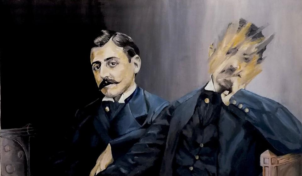 Double portrait de Marcel Proust, dont l'un est en partie effacé. Double portrait of Marcel Proust, one of which is partially erased.