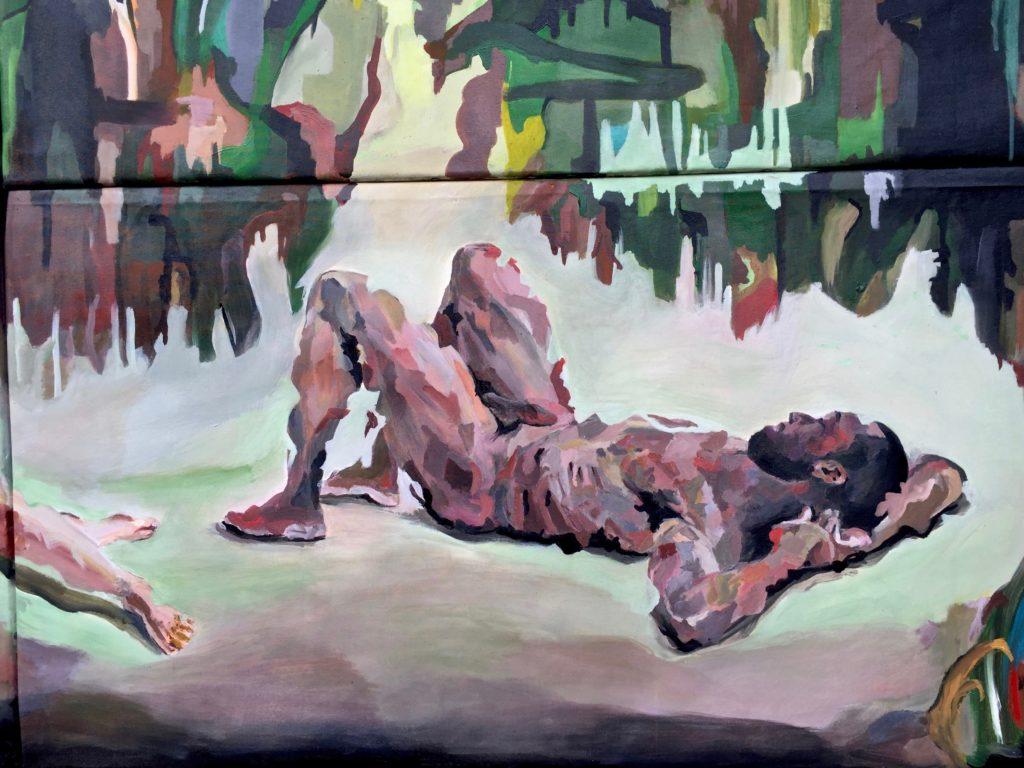 Eden. Détail. Tableau en plusieurs parties. Homme nu allongé avec un bout de décor de forêt.